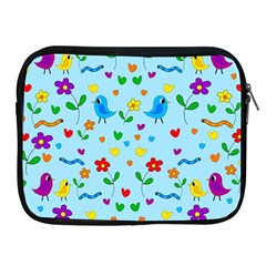 Blue Cute Birds And Flowers  Apple Ipad 2/3/4 Zipper Cases by Valentinaart