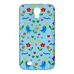 Blue Cute Birds And Flowers  Samsung Galaxy Mega 6 3  I9200 Hardshell Case by Valentinaart