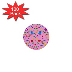 Pink Cute Birds And Flowers Pattern 1  Mini Buttons (100 Pack)  by Valentinaart