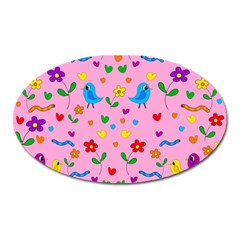 Pink Cute Birds And Flowers Pattern Oval Magnet by Valentinaart