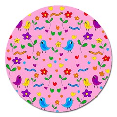Pink Cute Birds And Flowers Pattern Magnet 5  (round) by Valentinaart