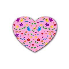 Pink Cute Birds And Flowers Pattern Rubber Coaster (heart)  by Valentinaart