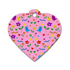 Pink Cute Birds And Flowers Pattern Dog Tag Heart (two Sides) by Valentinaart