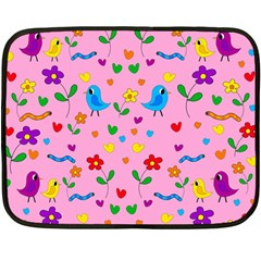 Pink Cute Birds And Flowers Pattern Double Sided Fleece Blanket (mini)  by Valentinaart