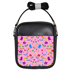 Pink Cute Birds And Flowers Pattern Girls Sling Bags by Valentinaart