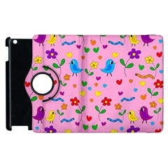 Pink Cute Birds And Flowers Pattern Apple Ipad 3/4 Flip 360 Case by Valentinaart