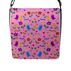 Pink Cute Birds And Flowers Pattern Flap Messenger Bag (l)  by Valentinaart