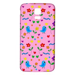Pink Cute Birds And Flowers Pattern Samsung Galaxy S5 Back Case (white) by Valentinaart