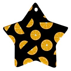 Oranges Pattern   Black Star Ornament (two Sides)  by Valentinaart