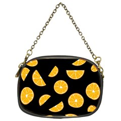 Oranges Pattern   Black Chain Purses (one Side)  by Valentinaart