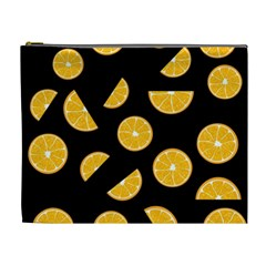 Oranges Pattern   Black Cosmetic Bag (xl) by Valentinaart