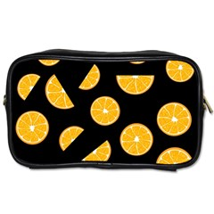 Oranges Pattern   Black Toiletries Bags 2 Side by Valentinaart