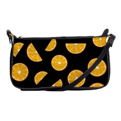 Oranges Pattern   Black Shoulder Clutch Bags by Valentinaart