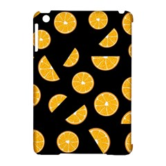 Oranges Pattern   Black Apple Ipad Mini Hardshell Case (compatible With Smart Cover) by Valentinaart