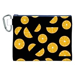 Oranges Pattern   Black Canvas Cosmetic Bag (xxl) by Valentinaart