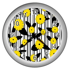 Yellow Floral Pattern Wall Clocks (silver)  by Valentinaart
