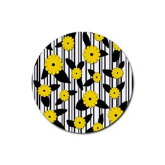 Yellow Floral Pattern Rubber Coaster (round)  by Valentinaart