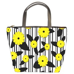 Yellow Floral Pattern Bucket Bags by Valentinaart
