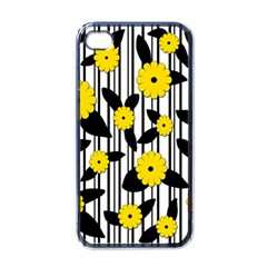 Yellow Floral Pattern Apple Iphone 4 Case (black) by Valentinaart