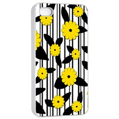 Yellow Floral Pattern Apple Iphone 4/4s Seamless Case (white) by Valentinaart