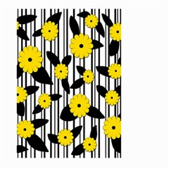 Yellow Floral Pattern Large Garden Flag (two Sides) by Valentinaart