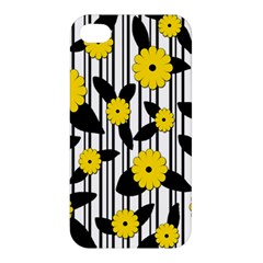Yellow Floral Pattern Apple Iphone 4/4s Premium Hardshell Case by Valentinaart