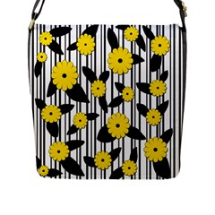 Yellow Floral Pattern Flap Messenger Bag (l)  by Valentinaart