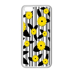 Yellow Floral Pattern Apple Iphone 5c Seamless Case (white) by Valentinaart