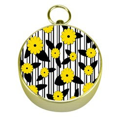 Yellow Floral Pattern Gold Compasses by Valentinaart