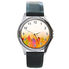 Autumn Leaves Colorful Fall Foliage Round Metal Watch by Amaryn4rt