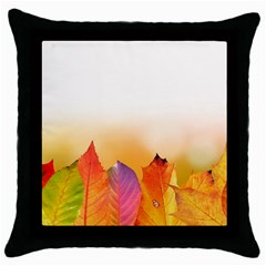 Autumn Leaves Colorful Fall Foliage Throw Pillow Case (black) by Amaryn4rt