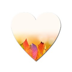 Autumn Leaves Colorful Fall Foliage Heart Magnet by Amaryn4rt