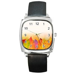 Autumn Leaves Colorful Fall Foliage Square Metal Watch by Amaryn4rt