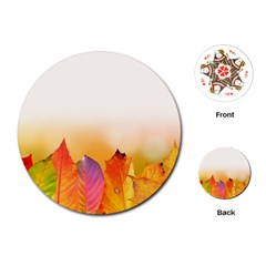 Autumn Leaves Colorful Fall Foliage Playing Cards (round)  by Amaryn4rt