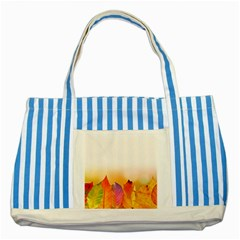 Autumn Leaves Colorful Fall Foliage Striped Blue Tote Bag by Amaryn4rt