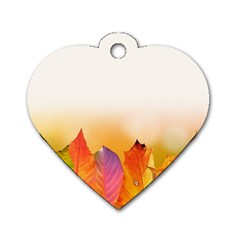 Autumn Leaves Colorful Fall Foliage Dog Tag Heart (two Sides) by Amaryn4rt