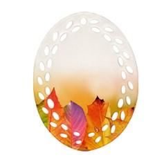 Autumn Leaves Colorful Fall Foliage Oval Filigree Ornament (2 Side)  by Amaryn4rt
