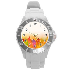 Autumn Leaves Colorful Fall Foliage Round Plastic Sport Watch (l) by Amaryn4rt