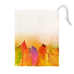 Autumn Leaves Colorful Fall Foliage Drawstring Pouches (extra Large) by Amaryn4rt