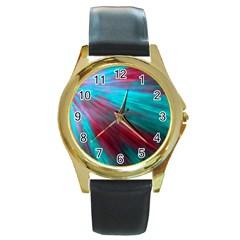 Background Texture Pattern Design Round Gold Metal Watch by Amaryn4rt