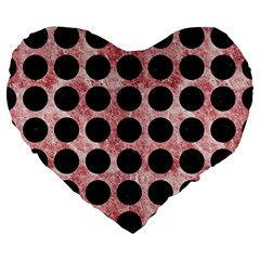 Circles1 Black Marble & Red & White Marble (r) Large 19  Premium Flano Heart Shape Cushion by trendistuff