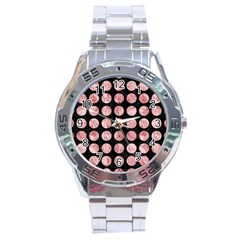 Circles1 Black Marble & Red & White Marble Stainless Steel Analogue Watch by trendistuff