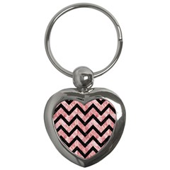 Chevron9 Black Marble & Red & White Marble (r) Key Chain (heart) by trendistuff