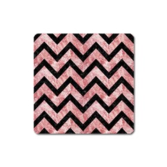 Chevron9 Black Marble & Red & White Marble (r) Magnet (square) by trendistuff