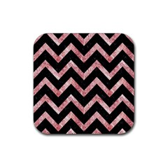 Chevron9 Black Marble & Red & White Marble Rubber Square Coaster (4 Pack) by trendistuff