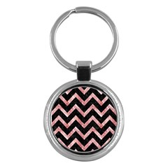 Chevron9 Black Marble & Red & White Marble Key Chain (round) by trendistuff