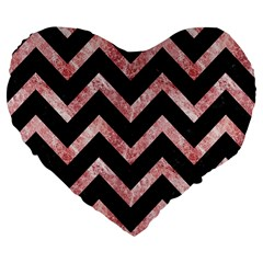 Chevron9 Black Marble & Red & White Marble Large 19  Premium Flano Heart Shape Cushion by trendistuff