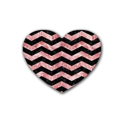 Chevron3 Black Marble & Red & White Marble Rubber Coaster (heart) by trendistuff