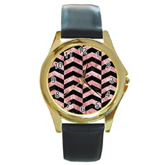 Chevron2 Black Marble & Red & White Marble Round Gold Metal Watch by trendistuff