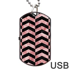 Chevron2 Black Marble & Red & White Marble Dog Tag Usb Flash (two Sides) by trendistuff